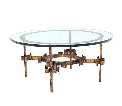 round wrought iron coffee table gilded wrought iron base round coffee table for sale at