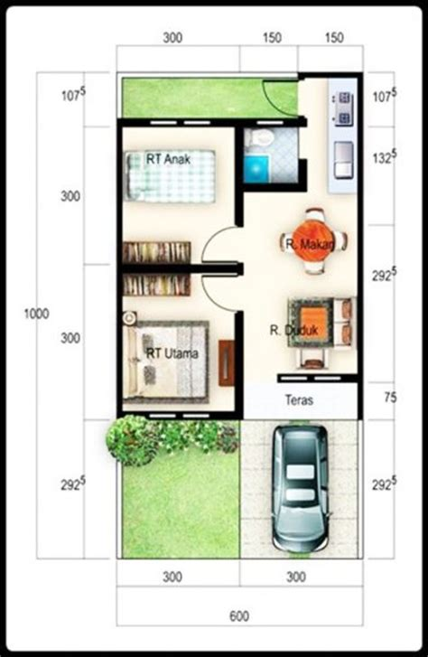 gambar denah rumah minimalis ukuran  terbaru kecil