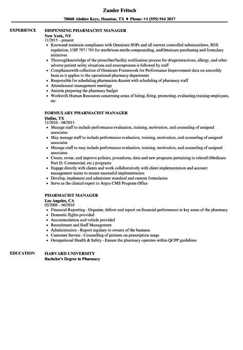 Pharmacy Manager Cv by Pharmacist Manager Resume Sles Velvet
