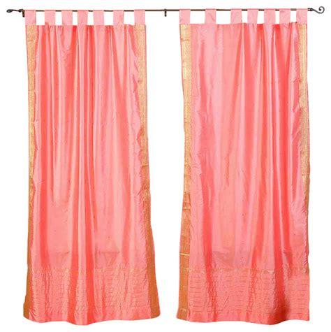 pink tab top sheer sari curtain drape and panel pair