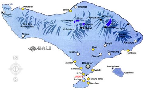 bali island map bali  regencies information