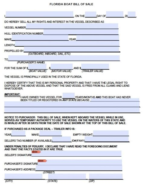 Boat Engine Bill Of Sale by Free Florida Boat Bill Of Sale Form Pdf Word Doc