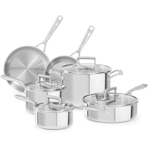kitchenaid  piece stainless steel cookware set  lids