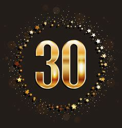 Anniversary 30 gold 3d numbers Royalty Free Vector Image