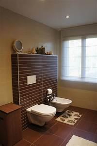 Plan De Toilette Bois : wc salle de de bain marron et beige souffle d 39 int rieur ~ Dailycaller-alerts.com Idées de Décoration