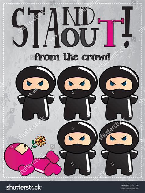 card cute cartoon ninja characters message stock vector