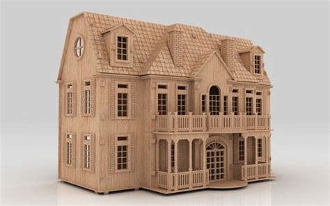 puzzle english manor dollhouse cnc router pattern laser