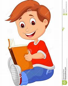 Comic clipart boy reading a book - Pencil and in color ...