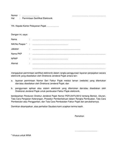 Contoh Surat Permintaan Barang Elektronik by Surat Permintaan Sertifikat Elektronik Bentuk Dan Syarat