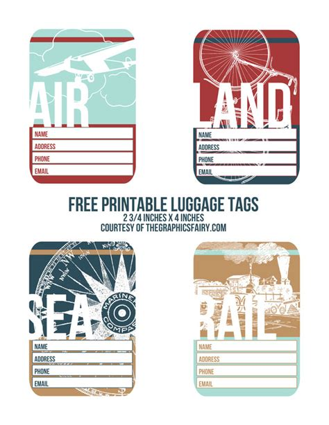 cutest printable luggage tags  graphics fairy