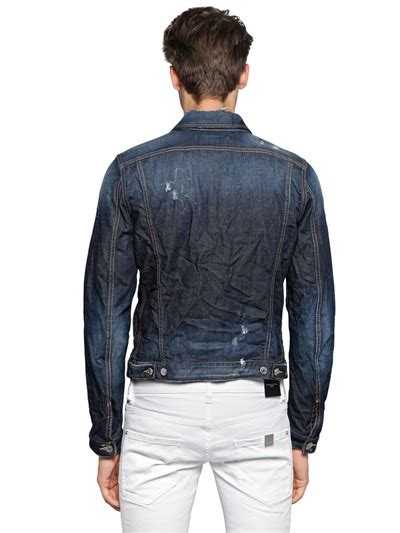 lyst dsquared painted  ripped cotton denim jacket