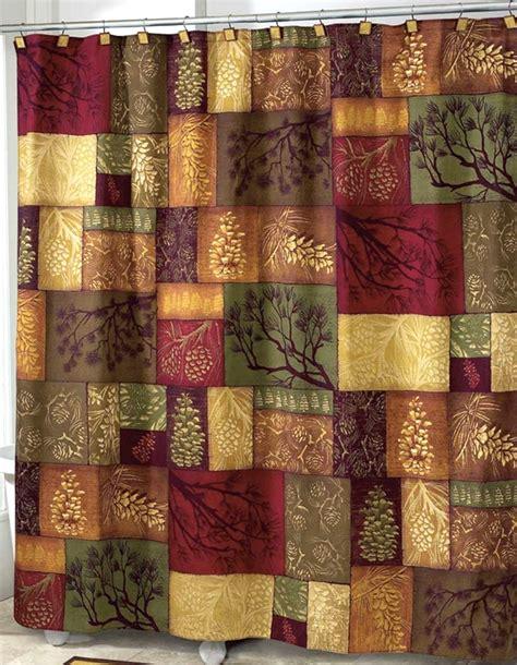 adirondack pine shower curtain lodge cabin decor fabric