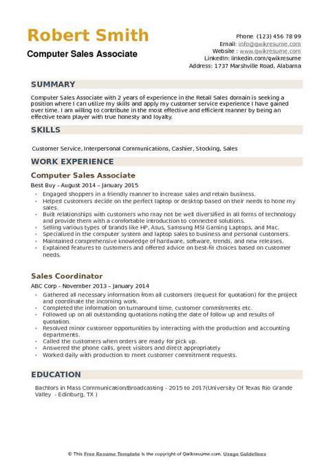 computer sales associate resume sles qwikresume