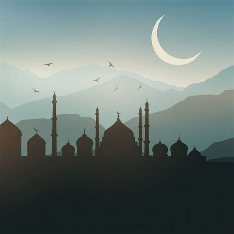 ramadan landscape background  sunset  vector