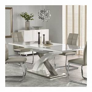 Table Salle A Manger Blanche : table a manger grise et blanc design extensible 220cm x 90cm flora ~ Teatrodelosmanantiales.com Idées de Décoration