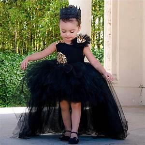 2018 black puffy tulle high low flower girl dress for ...