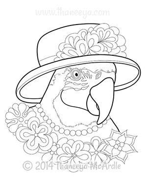 dapper animals parrot coloring page  thaneeya