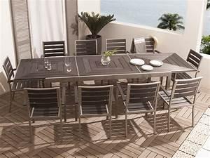 Table De Jardin Extensible Aluminium : salon de jardin 10 places en aluminium et composite 1 table extensible 213 316 cm 10 ~ Melissatoandfro.com Idées de Décoration