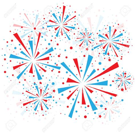 Red White and Blue Fireworks Clip Art