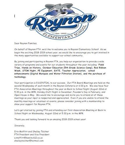 roynon elementary school pta
