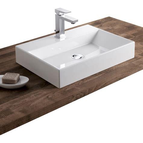 salle de bain avec vasque a poser vasque 224 poser r 233 sine de synth 232 se l 50 x p 36 cm blanc leroy merlin