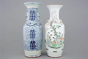 Grand Vase Blanc 1 Metre : un grand vase en porcelaine de chine famille rose et un en bleu et blanc 19 20 me rob ~ Teatrodelosmanantiales.com Idées de Décoration