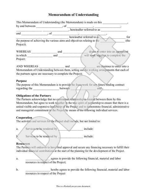 memorandum  understanding template mou form