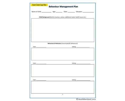 the management center program plan template behaviour management plan aussie childcare network