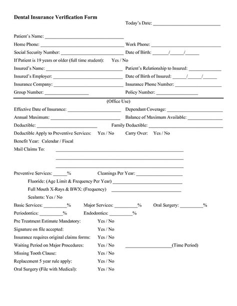 insurance verification form for chiropractic office 1000 images about teeeeth on pinterest dental