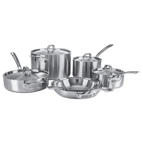viking  ply  piece cookware set stainless steel silver metal cookware set stainless