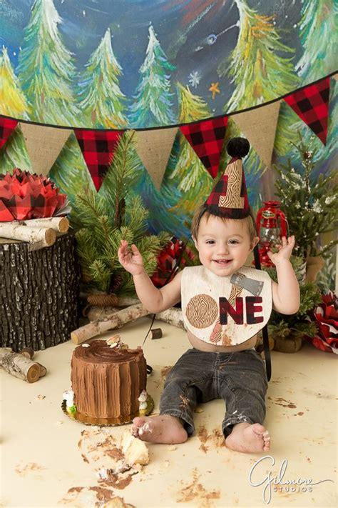 lumberjack birthday cake smash  year  baby boy