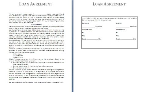 Free Printable Loan Contract Template Form (generic