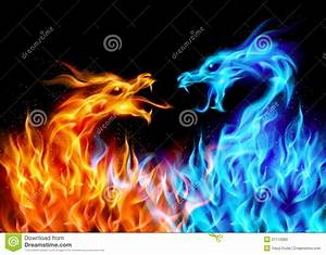 Blue And Red Fire Dragons Stock Photo - Image: 21112960