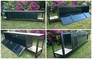 Palette De Bois : meuble tv avec plateaux en bois de palette tv cabinet ~ Premium-room.com Idées de Décoration