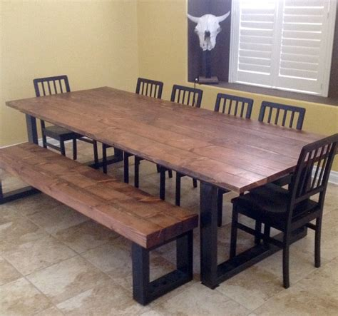 Dining Room Rustic Industrial Dining Table With Wood