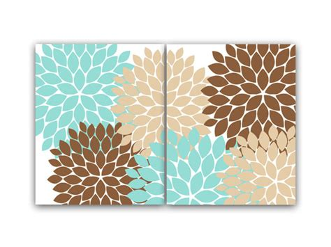 home decor wall teal and brown flower canvas burst