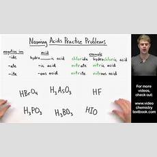 Naming Acids Practice Problems Youtube