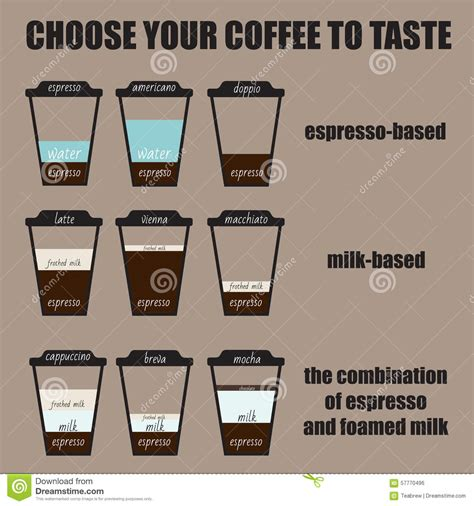 Several Coffee Recipes Stock Vector   Image: 57770496