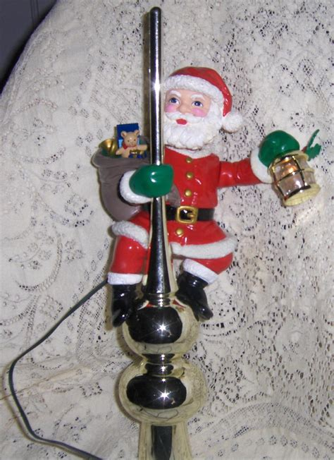 mr christmas animated santa lighted tree topper 1994 rare