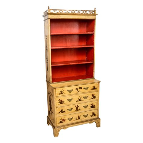 painted yellow chinoiserie bookcase  antique row