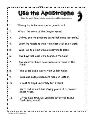 apostrophe worksheet 5 worksheets