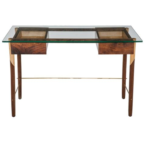 glass top writing desk writing desk with walnut maple brass and glass top for
