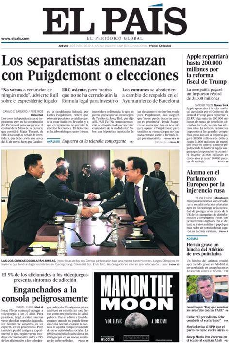 Las portadas de los periódicos de hoy, jueves 18 de enero ...