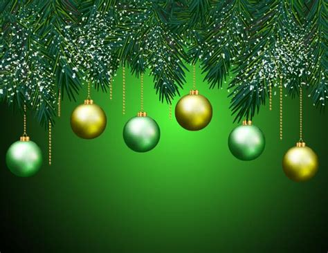 christmas ball  pine branches  green background