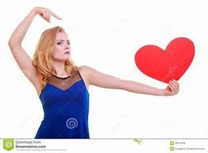 Red Heart. Love Symbol. Woman Hold Valentine Day Symbol ...