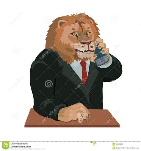 Lion Talking On A Cell Phone Stock Vector Illustration