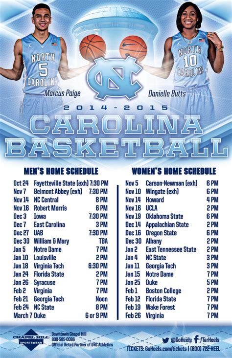 north carolina mens womens basketball schedule magnet