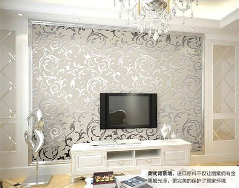 genuine victorian glitter wallpaper  silver background