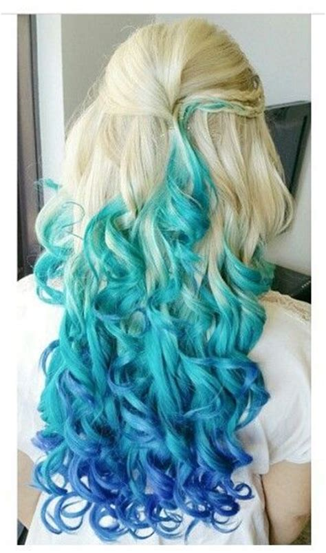 Blonde Turquoise Blue Two Tone Ombre Dyed Hair Color