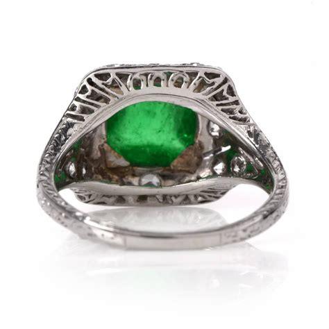 vintage deco emerald ring antique deco emerald platinum engagement ring at 1stdibs